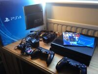 Playstation 4 console 500gb, boxed with 2 controllers, camera and charging dock