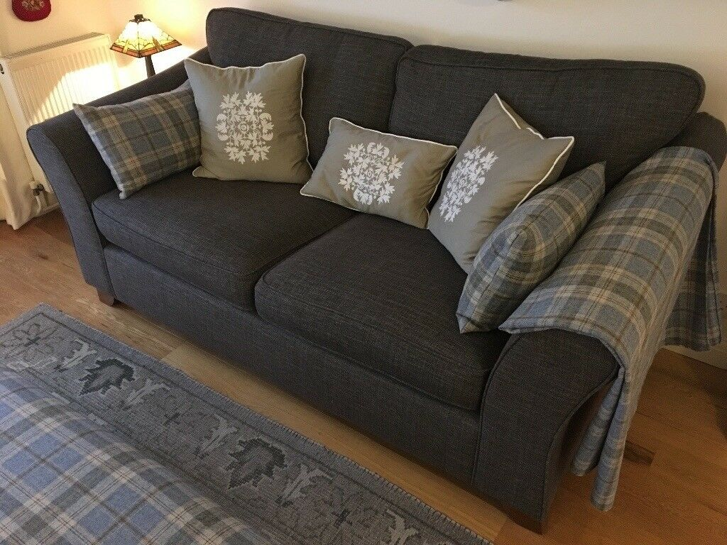 Marks And Spencer Abbey Sofa Medium Charcoal Grey Fabric 325