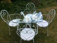 Stunning Iron Garden Patio Table and Chairs, Glass Top, Quality not your B&Q rubbish!