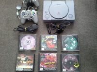 Playstation 1 with 6 games and 2 controllers