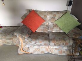 3 seater, 2 seater sofas and footstool