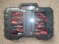 BRAND NEW, STILL SEALED, is a 58 PIECE ERGONOMIC SCREWDRIVER and BIT TOOL SET in a CARRY CASE