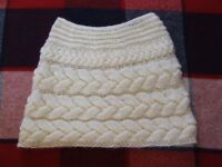 Hand Knit Chunky Cable Wedding Shrug in a delicate shade of cream/ivory