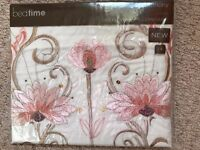 NEW, LOVELY EMBROIDERED PILLOW CASE PINK/CREAM