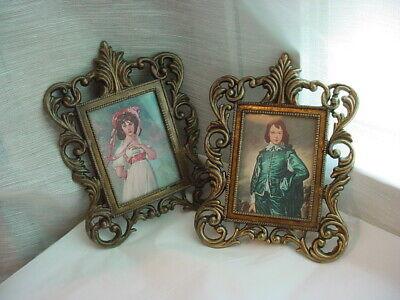 Pinkie Blue Boy Mini Sized Ornate Frames 2 Piece Lot Italy Vtg
