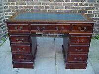 FREE DELIVERY Leather Top Desk Wooden Furniture 9
