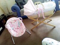Moses basket( Girl ) pink and stand and bouncer chair