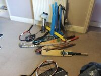 Assorted sports equipment