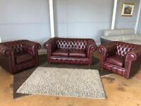 Chesterfield sofa suite good as new!!