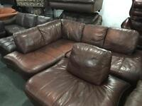 Full leather corner sofa and matching chair