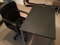 Laptop Wooden Desk and Back Leather Faced Armchair