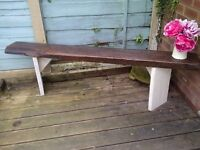(4)rustic garden bench aprox 6ft very heavy- reclaimed wood- protected weather proof paint