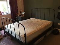 IKEA king size metal bed frame, no mid beam or slats