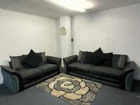 SOLD! Absolutely gorgeous grey & black dfs sofas delivery 🚚 sofa suite couch furniture