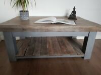 LOCAL DELIVERY XL Rustic Farmhouse GREY limed reclaimed COFFEE TABLE wooden shabby chic