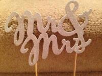 Mr and Mrs silver glitter cake topper