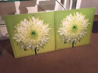 2 x green flower pictures £5 for both
