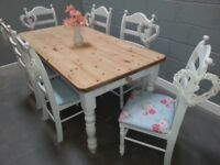 Fantastic 6ft Chunky Country Shabby Chic table & chairs