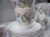 """Arcopal coffee cups 7 cups and 7 saucers """"pink and yellow floral swirl"""