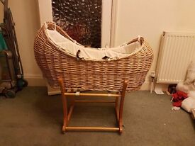 Wicker Moses basket with stand, mattress and sheets. Excellent condition. £60 ONO