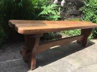 Solid oak dining table and oak bench