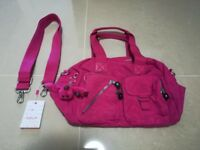 Kipling handbag, Very Berry colour, as new with label, shoulder strap