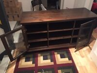 ** SOLID DARK OAK WOOD TV / MULTIMEDIA UNIT - STRONG AND STURDY **