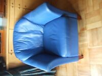 Leather armchair - royal blue - Maskreys