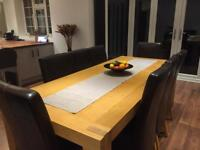 Solid Oak Dining Table Plus 6 Faux Leather High Back Chairs