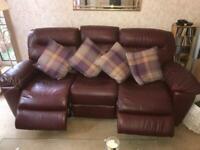 Plum leather 3 peice suite