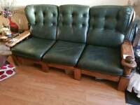 Leather green 3 and 2 seater sofas