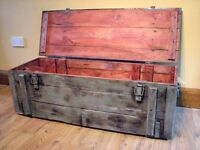 Military Box Trunk Storage Wooden Rustic Coffee Table Chest Painted Grey