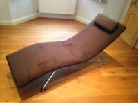 Chaise Lounge - Suede with Chrome Legs - Immaculate Condition