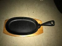 Cast Iron Sizzle Platter with wooden base (x 12 available)
