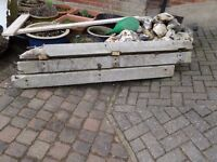 """4 concrete posts, originally longer but broken off, they are around average 5 ft 3"""" long"""