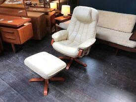 Leather Recliner & Footstool by Mobel Team. Retro Vintage Mid Century Scandinavian