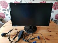"AOC Razor E2343F 23"" Widescreen LED PC Screen Monitor inc power adapter + Cables"