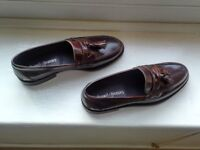 *** Russell & Bromley Keeble 3 Brown Hi-Shine Tassel Loafter UK10 - £150 ***