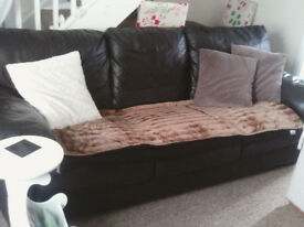3 seater brown leather sofa very comfortable