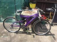 """Ladies Warrior Trojan Purple 26""""inch, full suspension, 18speed gears bike/bicycle"""