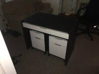 Black Computer Desk Work Station and drawers set