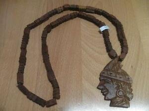 MOST UNIQUE 18-in.SOLID WOOD NATIVE AMERICAN HAND-CARVED PENDANT NECKLACE