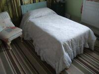 Single White Lacy Bedspread