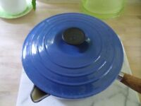"LE CREUSET CAST IRON BLUE PAN 22"" HARDLY USED"