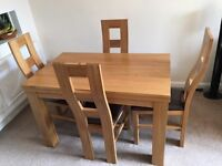 """4ft x 2ft 6"""" Natural Solid Oak Table & 4 Chairs"""