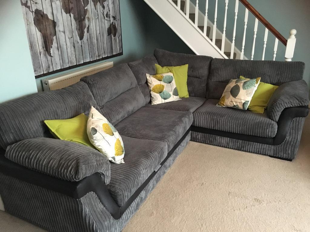 Scs 2017 Corner Sofa Black Grey Fabric Memory Foam Cushions