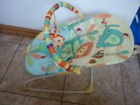 Bright Starts Jungle Baby Boucer Chair with Vibrate and Toybar