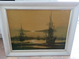 Picture Reto Print From 1960's - Ships In Frame Evening Anchorage