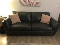 Sterling Italian leather sofa (3 seater, 2 seater and footstool)