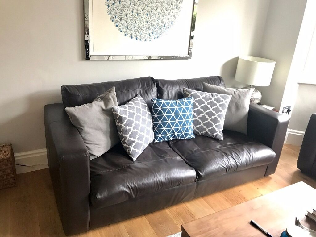 Two sofa workshop jack dark brown leather sofas 3 seater for Leather sofa 7 seater